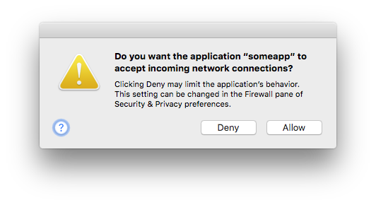OS X Firewall Warning